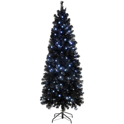 WeRChristmas Pre-Lit Slim Black Christmas Tree with 200 White LED Lights 6 ft/1.8 m
