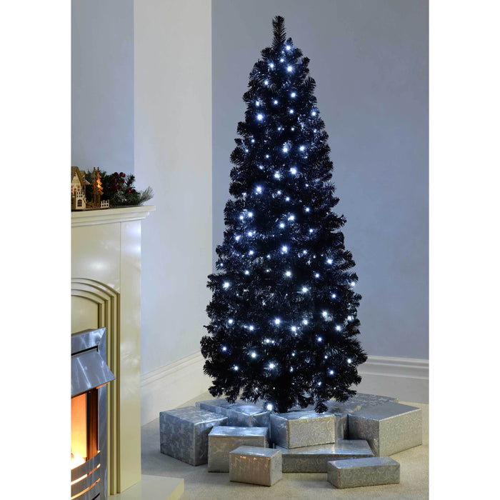 Werchristmas Pre Lit Slim Black Christmas Tree With 200 White Led Ligh