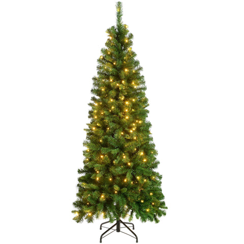 WeRChristmas Pre-Lit Slim Christmas Tree with 200 White LED Lights 6 ft/1.8 m