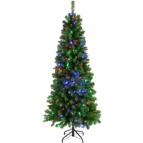 WeRChristmas Pre-Lit Slim Christmas Tree with 200 Multi-Colour LED Lights 6 ft/1.8 m