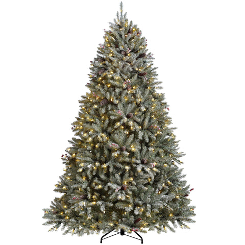 WeRChristmas Pre-Lit Decorated Snow Flocked Christmas Tree 500 Warm White Candle LED Lights 6 ft/1.8 m