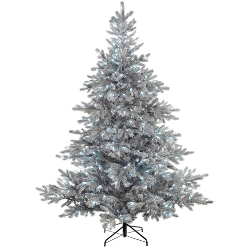 WeRChristmas Pre-Lit Frost Vermont Spruce Multi-Function Christmas Tree 500 Cool White LED Lights 7 ft/2.1 m
