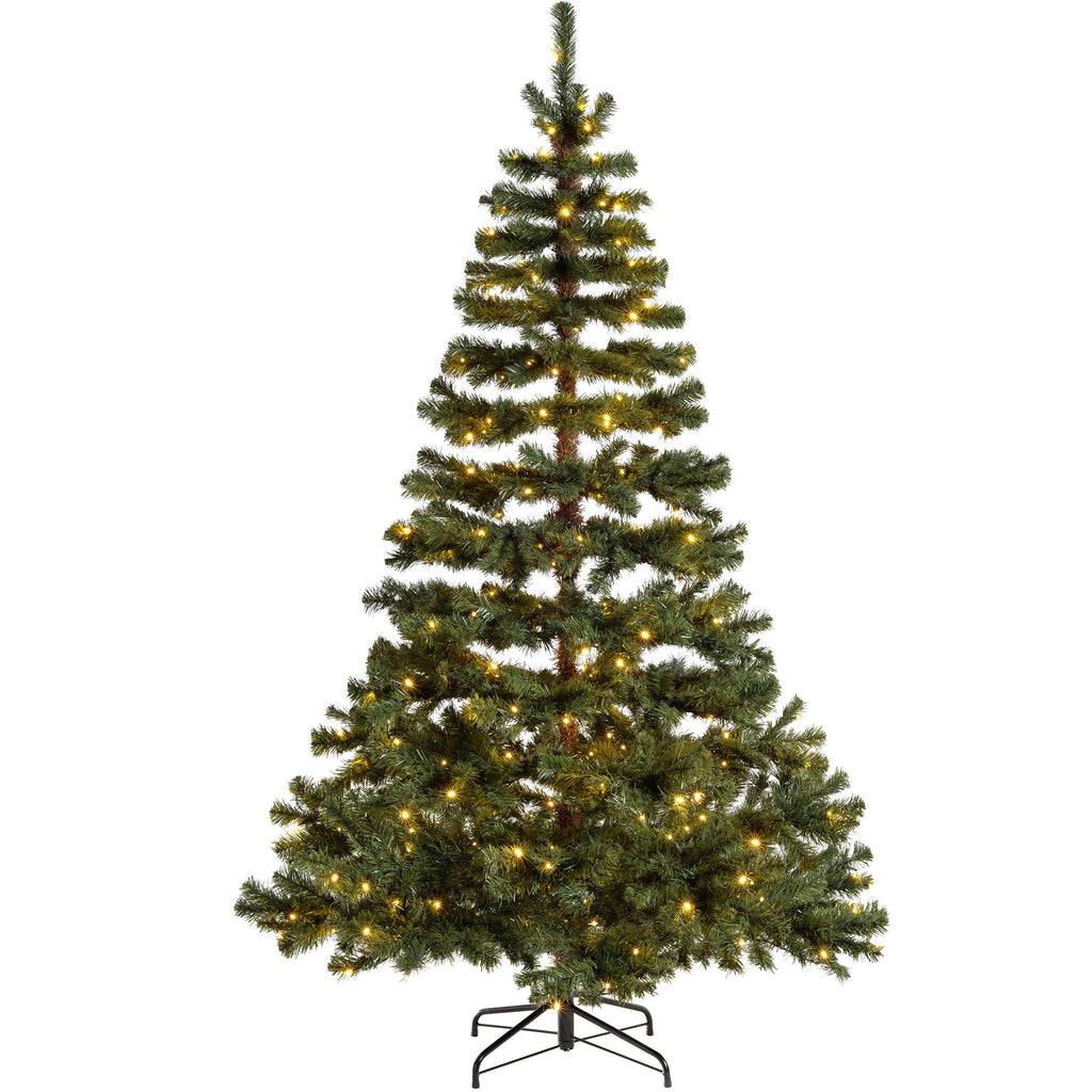 WeRChristmas Pre-Lit Virginia Pine Multi-Function Christmas Tree 200 Warm White LED Lights 6 ft/1.8 m