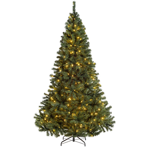 WeRChristmas Pre-Lit Vancouver Fir Multi-Function Christmas Tree Warm White LED Lights
