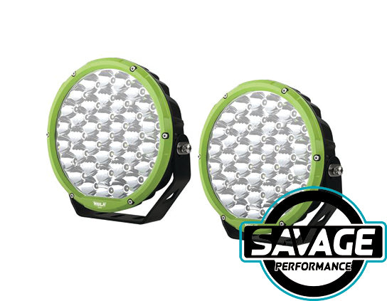 Hulk 4x4 9 Inch Round LED Driving / Spot Light - Pair - GREEN