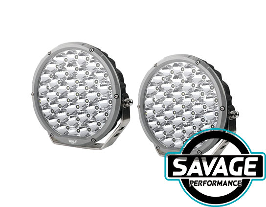 Hulk 4x4 9 Inch Round LED Driving / Spot Light - Pair - SILVER