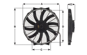 "Maradyne - Champion Series Universal 255mm 10"" 12V Reversible Skew Blade Fan 1610m3/h"