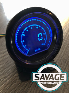 60mm DIGITAL RPM (Tacho) Gauge Red / Blue