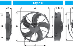 "Spal Universal 305mm 12"" 12V Pusher Skew Blade Fan 1590m3/h"