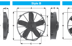 "Spal Universal 255mm 10"" 12V Pusher Straight Blade Fan 1070m3/h"