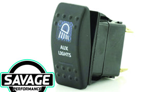 Jaylec Rocker Switch AUX LIGHTS 12/24v (Blue)