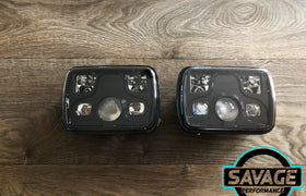 7 Inch x 5 Inch BLACK LED Headlights