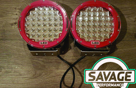 9 Inch 185W LED Spot Light (PAIR) RED *Savage Performance*