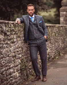 Cavani ALBERT GREY TWEED CHECK SUIT