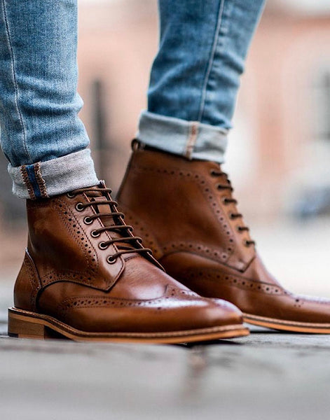 Cavani HOLMES TAN SIGNATURE LACE UP BOOTS