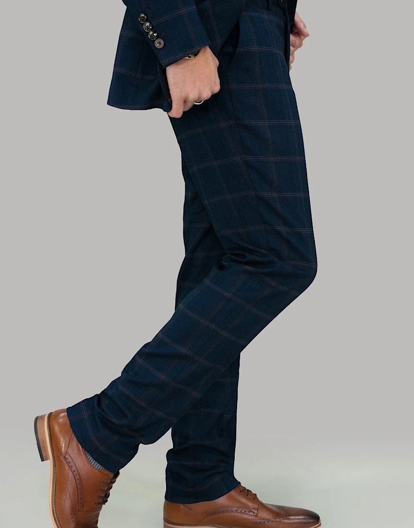 Cavani CONNALL NAVY TWEED CHECK TROUSERS