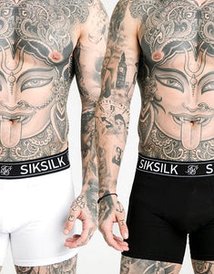 SikSilk Boxer Shorts (2 Pack) - White & Black