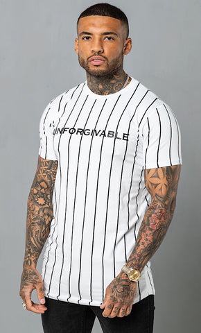 Unforgivable Pin Stripe Tee White/Black