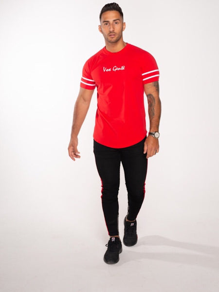 Vox Gente Red Striped Sleeve Tee
