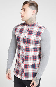 Siksilk L/S Flannel Check Grandad Shirt Grey