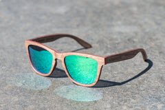 walnut wood sunglasses with green mirror polarized lenses
