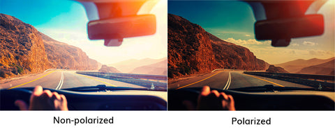 vision with polarized sunglasses versus vision without polarized sunglasses while driving