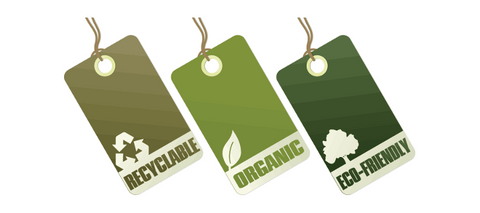 sustainable fashion tags, recyclable, organic and eco-friendly