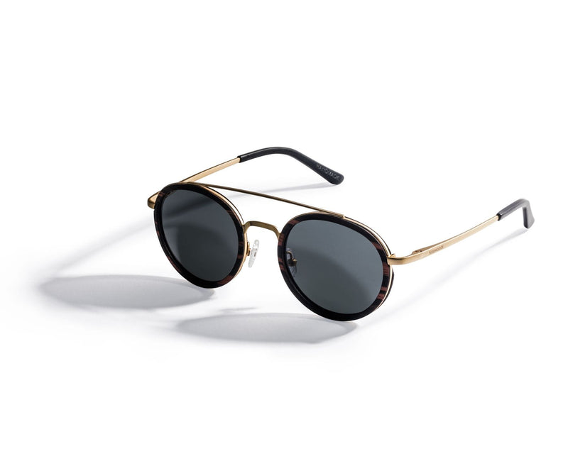 Kraywoods Aspen Gold, Round Double Bridge Sunglasses made from Ebony wood with Polarized Lenses