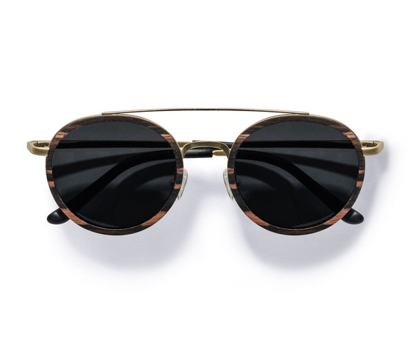 Kraywoods Aspen Gold, Gold Round Sunglasses made with Ebony wood and 100% UV Protection, Polarized Lenses