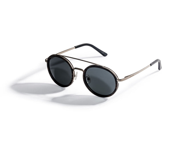 Kraywoods Aspen Silver, Silver Round Sunglasses made with Ebony wood and 100% UV Protection, Polarized Lenses