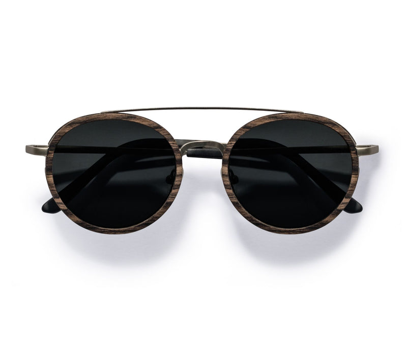 Kraywoods Aspen Silver, Round Double Bridge Sunglasses made from Ebony wood with Polarized Le nses