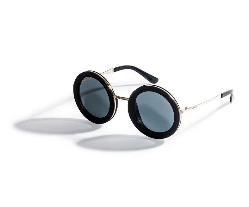Kraywoods Birch, Oversized Round Sunglasses made from Ebony wood with polarized lenses