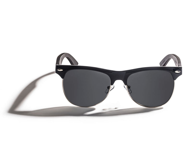 Kraywoods Black Jaguar, clubmaster sunglasses made from ebony wood with polarized dark lenses