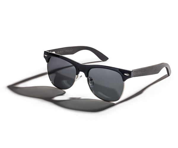 Kraywoods Black Jaguar, Clubmaster Sunglasses Featuring Ebony Wood Arms with 100% UV Protection, Polarized Lenses