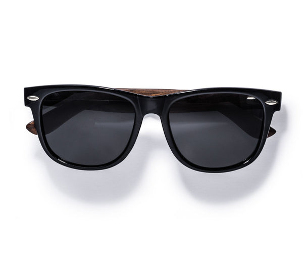 Kraywoods Challenger, Wayfarer Sunglasses Featuring Ebony Wood Arms with 100% UV Protection, Polarized Lenses
