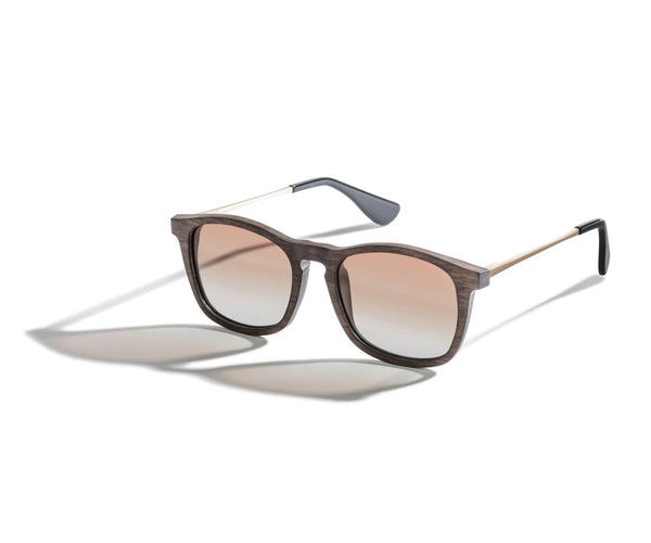 Kraywoods Hazel, Retro Square Sunglasses made from Walnut Wood with Gradient Polarized Lenses, 100% UV Protection