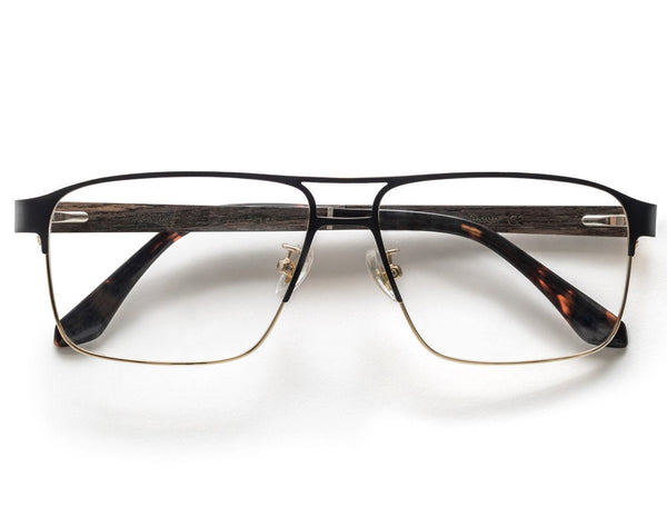 Euphoria Gold - Rectangle two-tone Eyeglasses in Black & Gold Metal