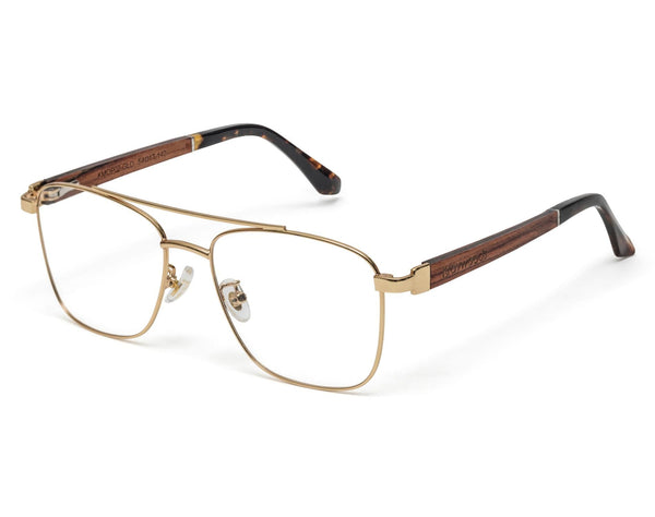 Drive Gold - Retro Square Eyeglasses in Gold Metal