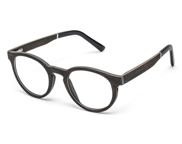 Cheer Black - Retro Round Eyeglasses made from Oak Wood
