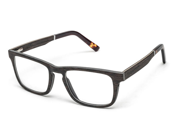 Bold Black - Rectangle Eyeglasses made from Oak Wood