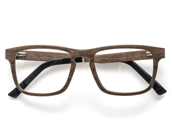 Bold Brown - Rectangle Eyeglasses made from Oak Wood