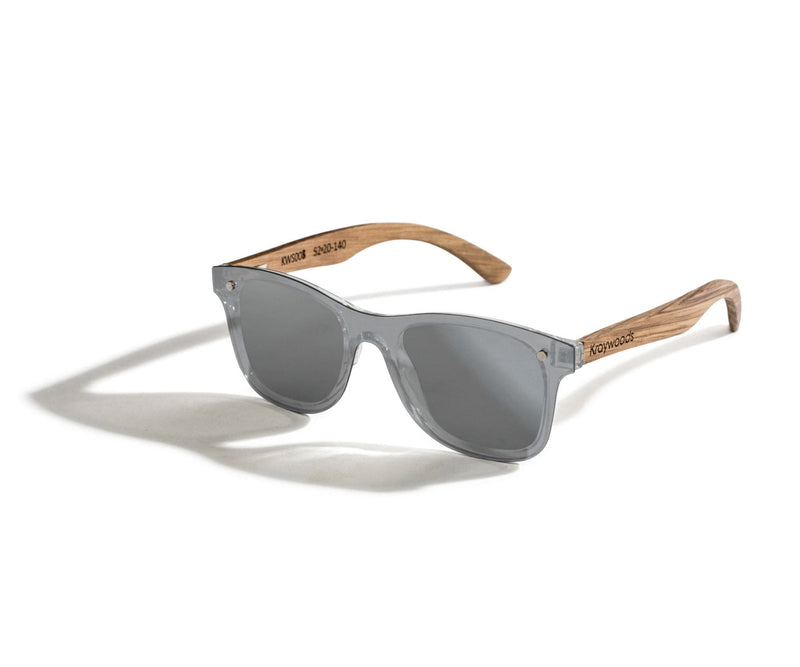 Kraywoods Rover, Silver Mirrored reflective Sunglasses featuring Zebra Wood Arms and 100% UV Protection, Polarized Lenses