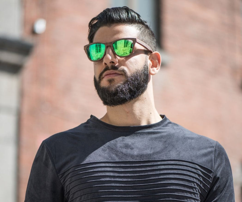 Man wearing  Kraywoods Racer, Square Sunglasses made from Walnut wood with Polarized Green Lenses