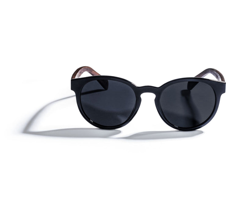 Kraywoods Luxy, Classic Round Sunglasses made from Ebony wood with polarized dark lenses