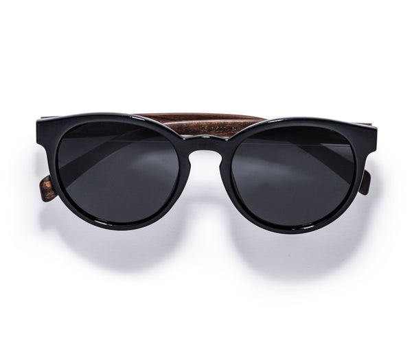 Kraywoods Luxy, Round Sunglasses Featuring Ebony Wood Arms with 100% UV Protection, Polarized Lenses