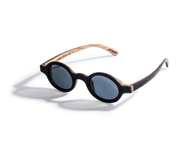 Kraywoods Magnolia, Small Round Sunglasses Featuring Ebony Wood Vintage Frame and 100% UV Protection, Polarized Lenses