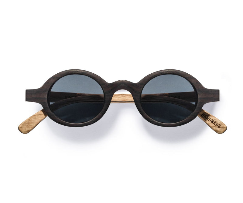 Kraywoods Magnolia, Vintage Round Sunglasses made from Ebony wood with polarized lenses