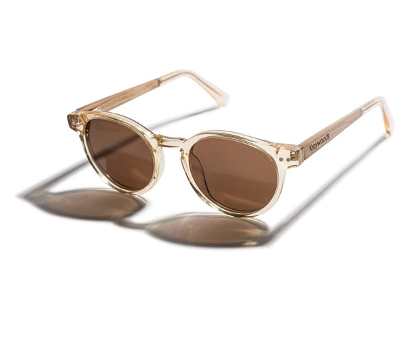 Kraywoods Jazz, Retro Round Sunglasses Transparent Frame Featuring Brown Polarized Lenses
