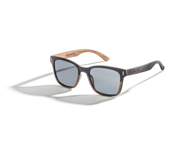 Kraywoods Oxford, Ebony Wood Square Sunglasses Featuring 100% UV Protection, Polarized Lenses