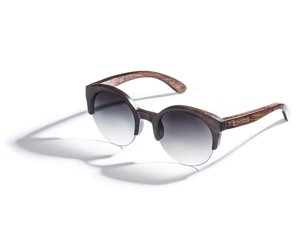 Kraywoods Tom & Cat, Bamboo Retro-Round Sunglasses featuring Gradient Brown Lenses with 100% UV Protection